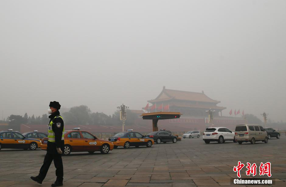 Beijing issued the highest smog alert of the year as the AQI in Beijing went beyond index in some areas of the city on November 30, 2015.