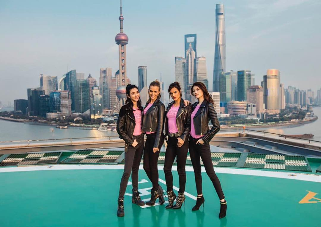 This won't be the first trip to China for some of the models, who visited Shanghai in March to celebrate the grand opening of the Shanghai flagship store. Ambrosio, Josephine Skriver, Ming Xi and Sui He posed for photos at some of the city's most iconic spots, including The Bund, the Huangpu River and Yu Garden.
