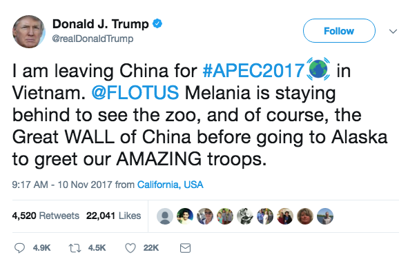 Trump tweets before leaving China