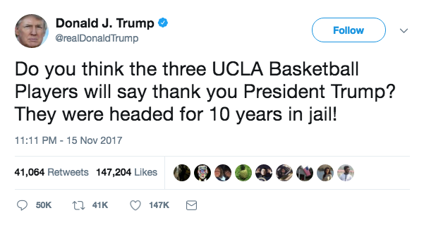 Trump UCLA basketball
