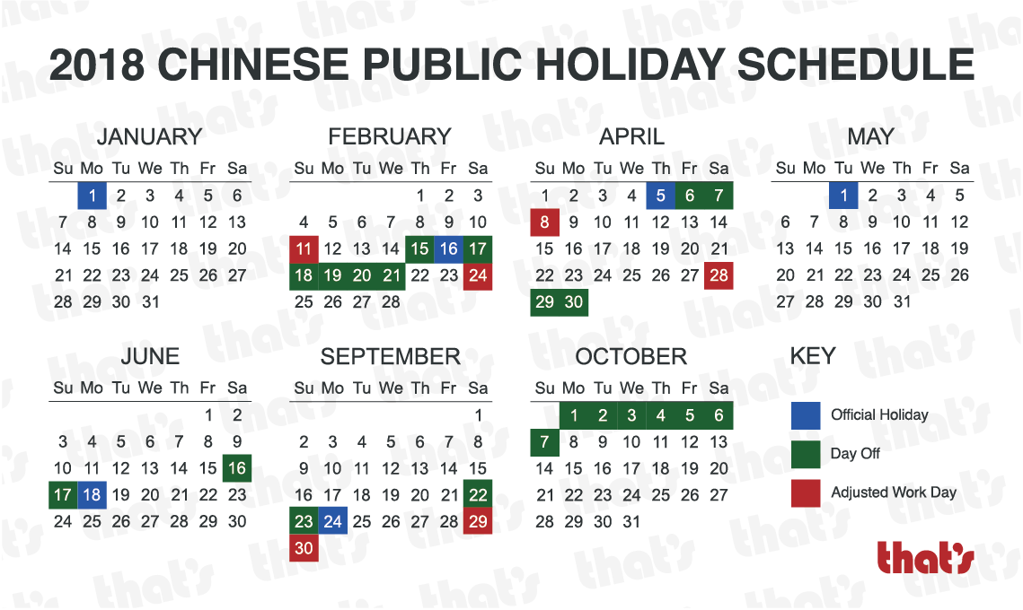 China, Here Are Your 2018 Public Holidays – That's Shanghai