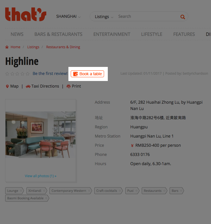 Book a restaurant on thatsmags.com