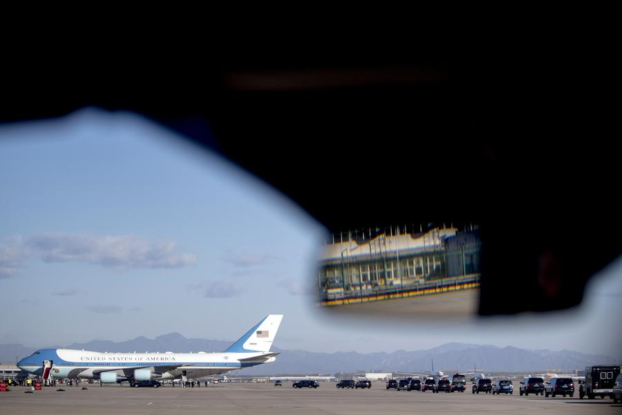 Donald Trump Air Force One Beijing Leave for Vietnam