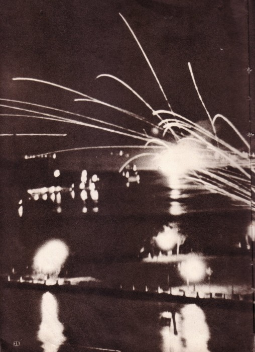 The only surviving photograph of the Japanese attack on HMS Peterel