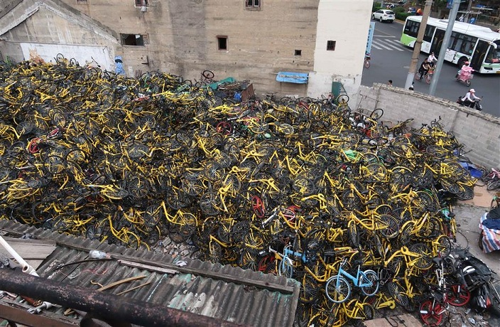 Shared-Bike Graveyards Continue to Frustrate Shanghai Residents