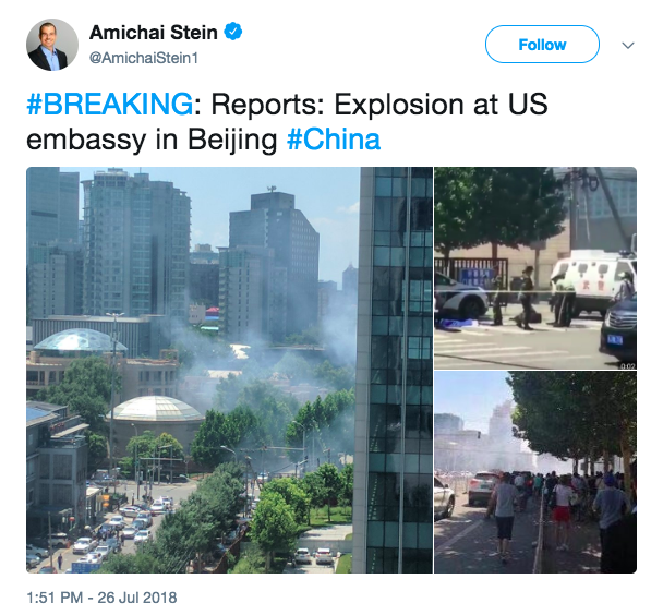 Reports of explosion outside United States embassy in Beijing