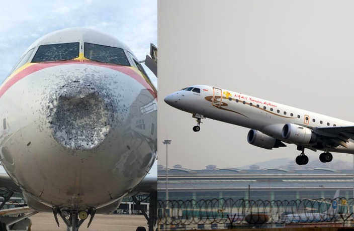 Tianjin Airlines Plane Heavily Damaged as Hail Hits Mid-Flight
