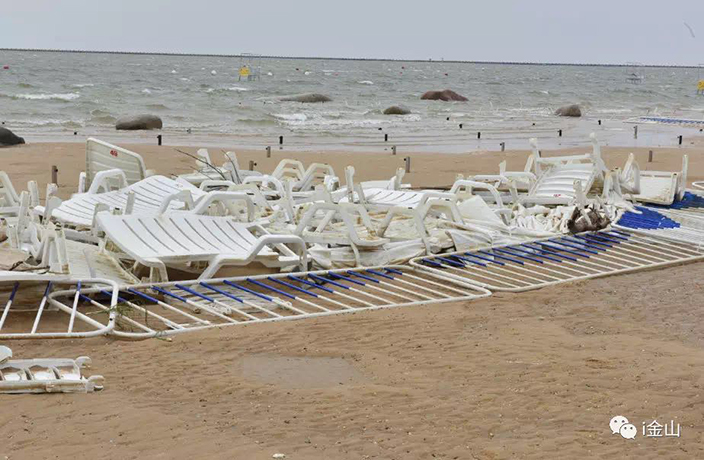 Jinshan City Beach Closed Due to Damage from Typhoon Yagi