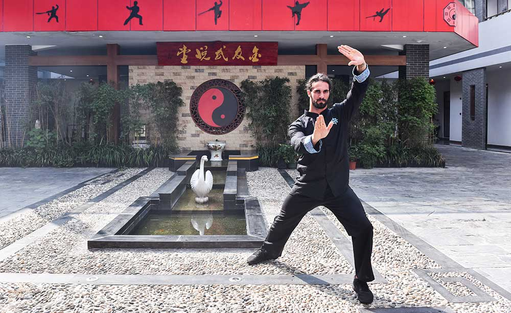 Seth Rollins doing tai chi during a recent China trip