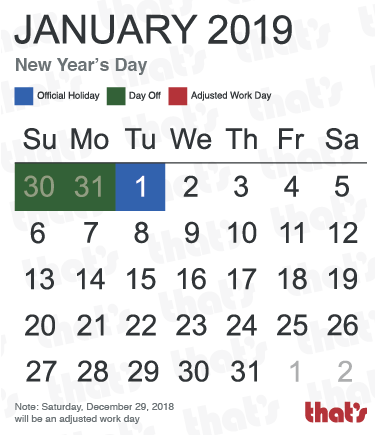 Chinese Public Holidays: New Year's Day, January 2019