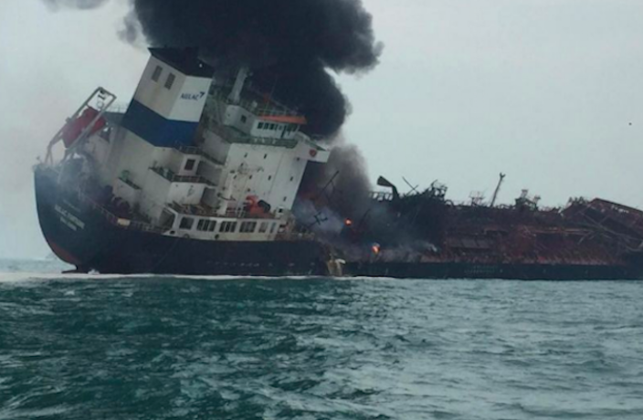 1 Dead After Oil Tanker Fire, Explosions off Hong Kong Coast