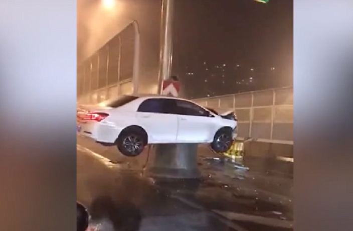 WATCH: Bizarre Drunk Driving Accident In Shanghai Goes Viral