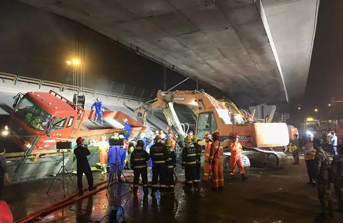 WATCH: Moment Overpass Suddenly Collapses in East China, Killing 3