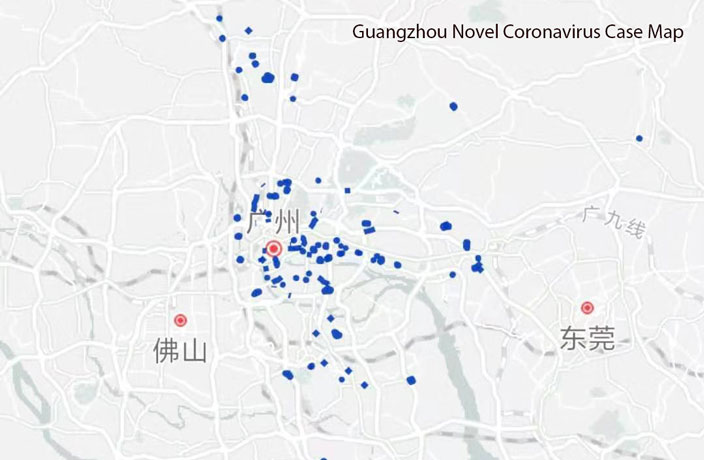 Here's Where Every Coronavirus Case Was Reported in Guangzhou