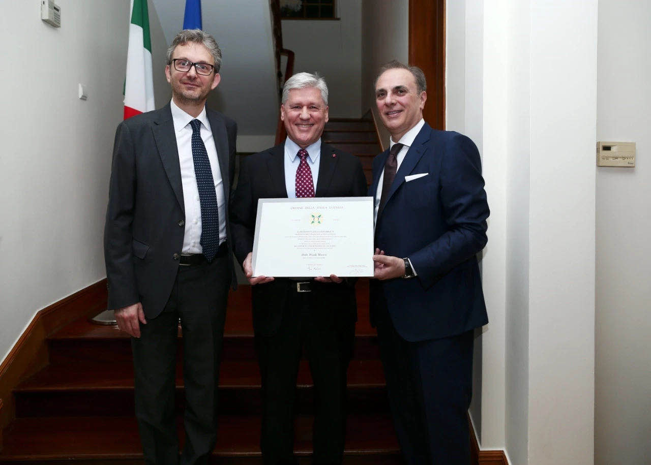 Dr. Frank Morris-Davies, Knight of the Order of the Star of Italy