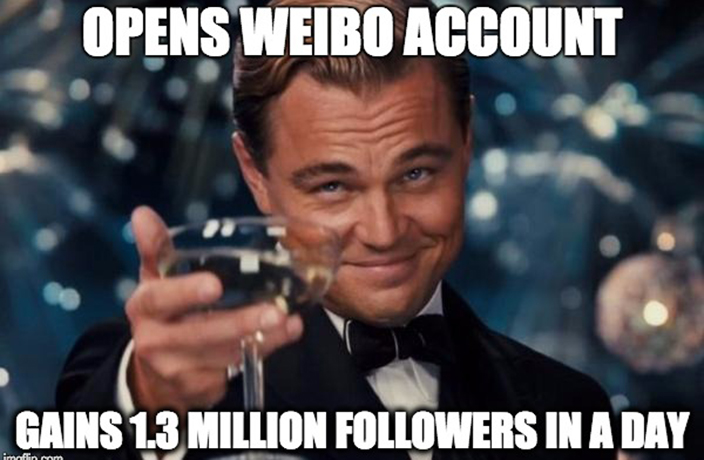 Leonardo DiCaprio Joins Weibo, Immediately Gains a Million Followers