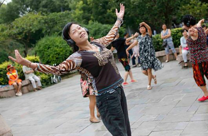 Beijing's Dancing Grannies Get Fancy Wireless Headphones