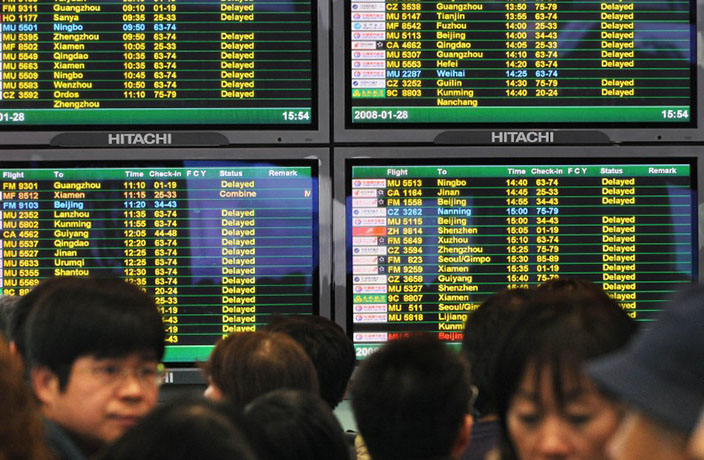 Rain Causes Flight Delays in Beijing