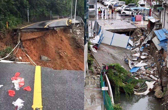 PHOTOS: Giant Sinkhole, Landslides Hit Shenzhen