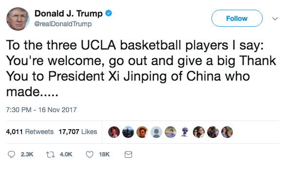 Trump to Arrested UCLA Players: Give a 'Big Thank You' to Xi Jinping