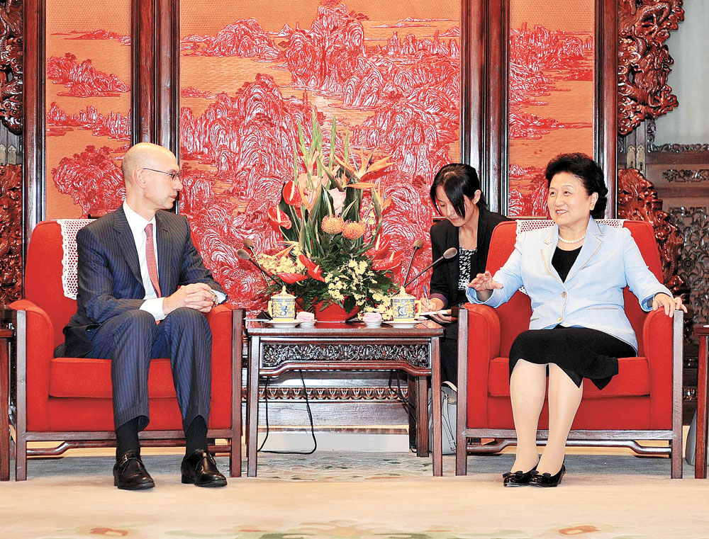 Vice Premier Liu Yandong and NBA Commissioner Adam Silver