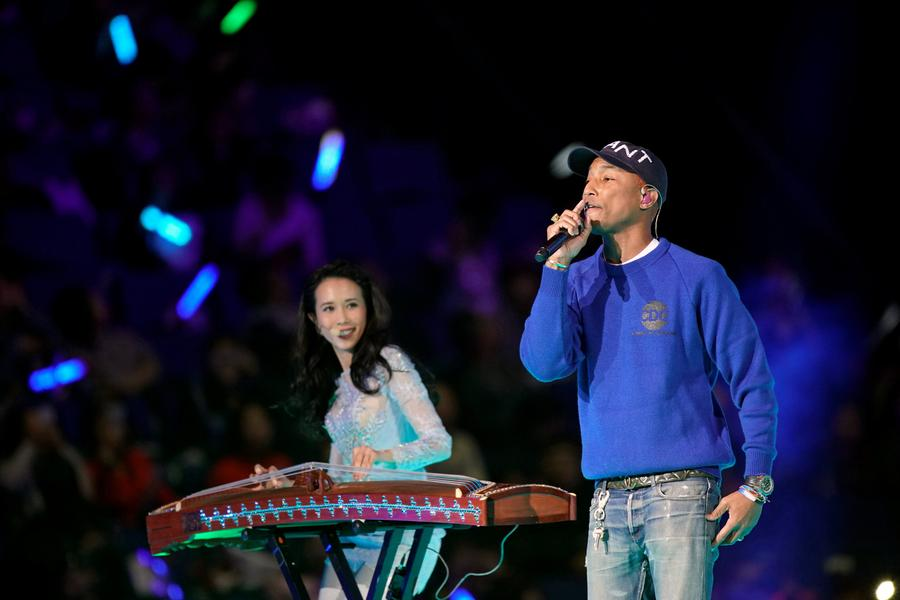 Pharrell Williams and Karen Mok at 2017 Singles Day Gala in Shanghai