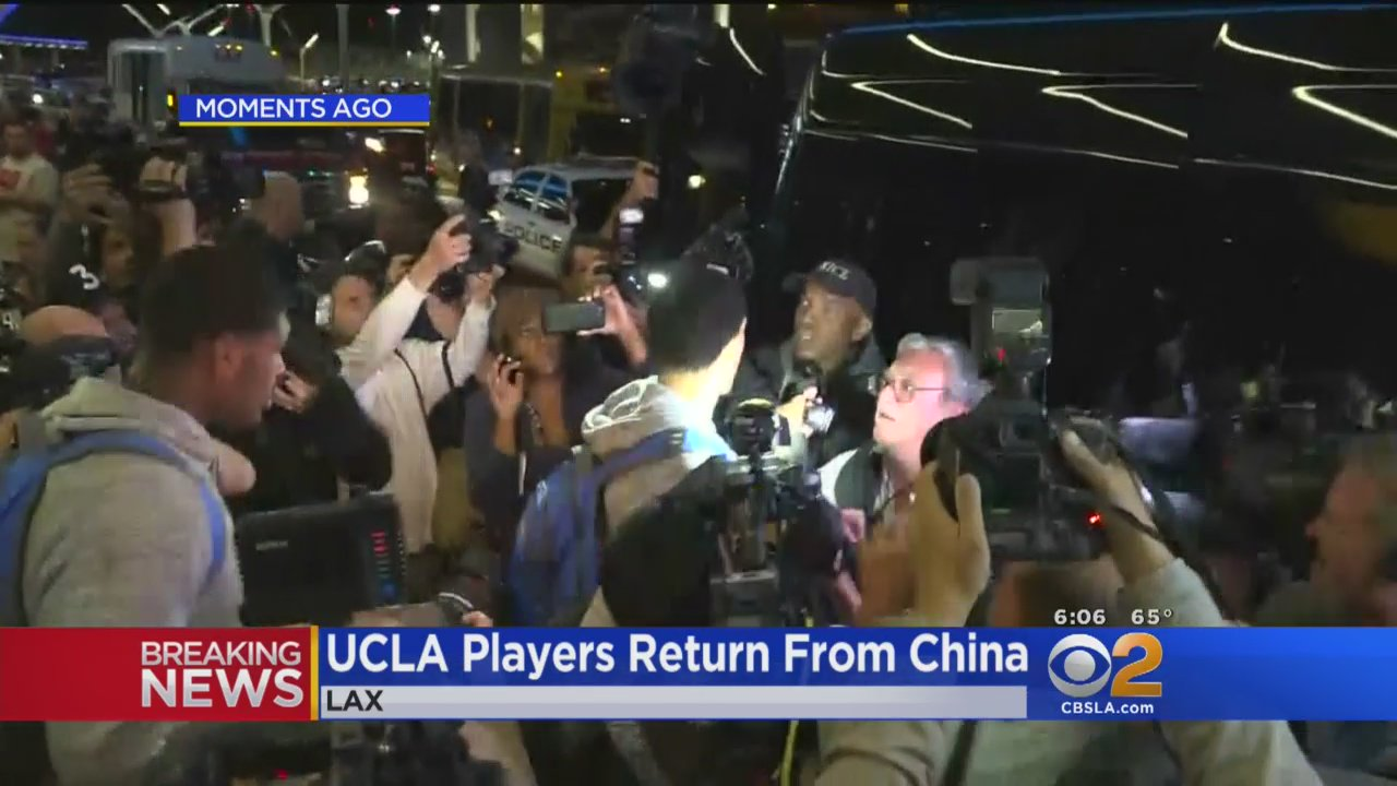 The players returned to a swarm of journalists in LA
