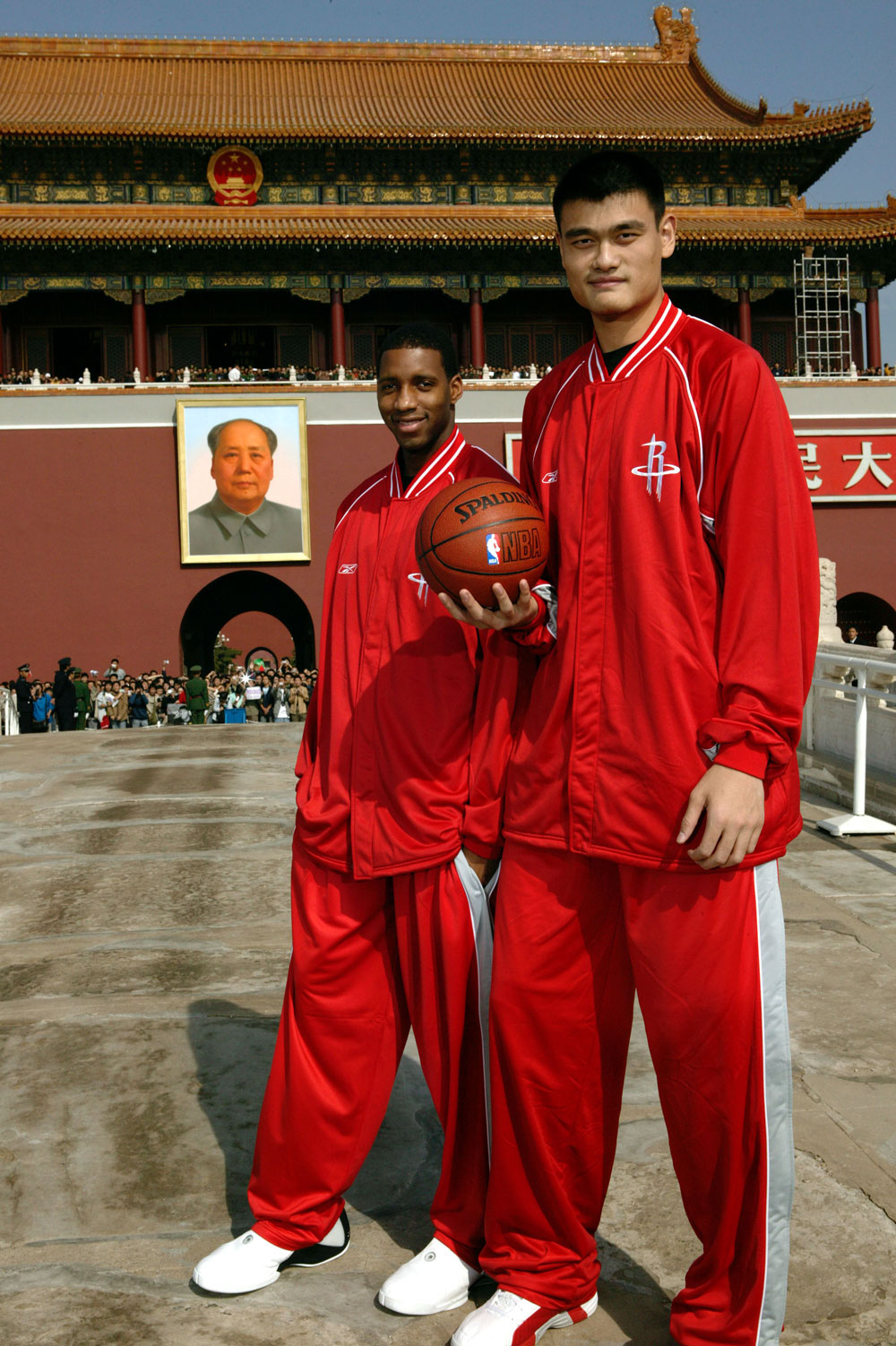Yao Ming and Tracy McGrady of the Houston Rockets visit Beijing in 2004