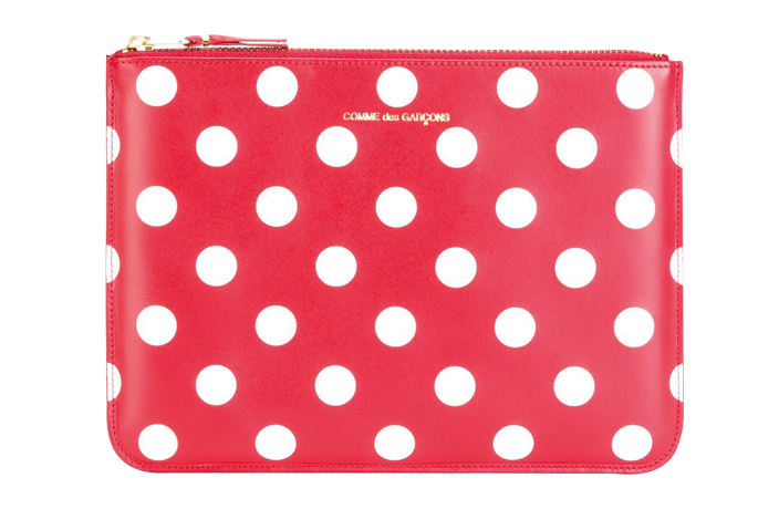 Comme des Garcons red white polka dot clutch purse