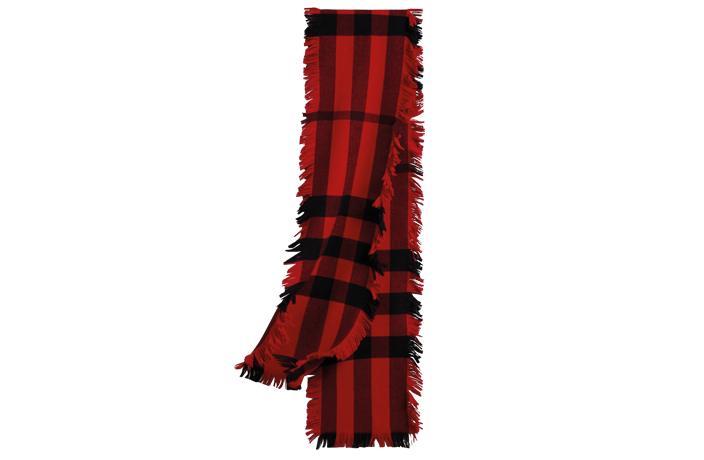 Men's red Burberry scarf