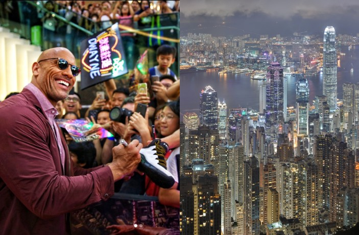 The Rock Visits Hong Kong to Promote Latest Film 'Skyscraper'