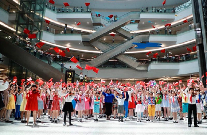 Flash Mob at Shanghai Airport Celebrates 70th Anniversary of PRC