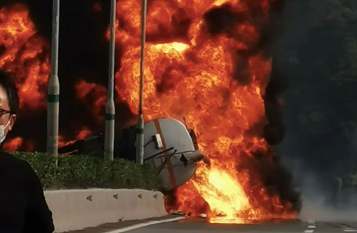 WATCH: Tanker Truck Causes Fiery Inferno on Chinese Highway
