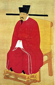 Emperor Shenzong wearing a social distancing hat during the Song Dynasty. Image via Wikimedia Commons